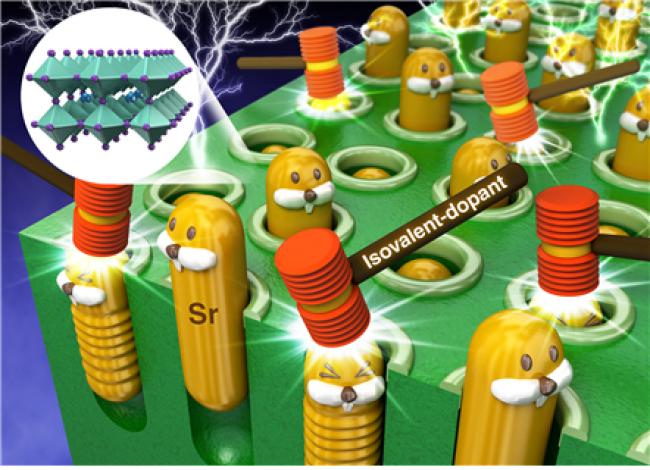 구본재 KAIST신소재공학과 연구원팀의 논문이 실린 '에너지및환경과학' 2018년 1월호 표지. 전극 표면에 스트론튬(Sr) 노폐물이 형성되는 과정을 막는 모습을 묘사하고 있다. - KAIST/학술지 '에너지및환경과학' 제공